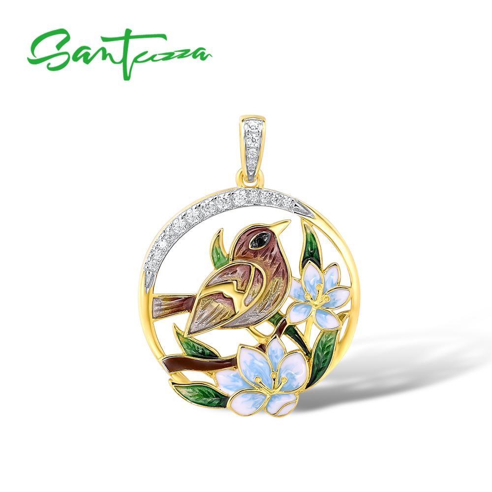 SANTUZZA Silver Pendants For Women Authentic 925 Sterling Silver Gold Color Delicate Flower Sparrow Fine Jewelry Handmade Enamel