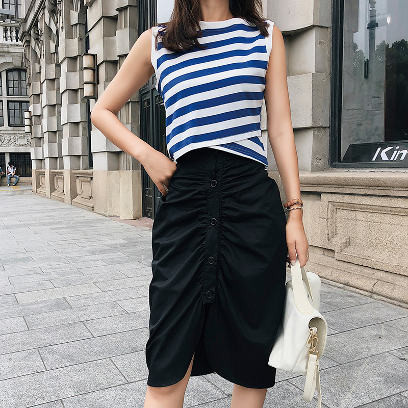 [Dowisi] 2018 Summer Wear New Style Stripes Sleeveless Vest Slit Irregular Skirt Set F5121