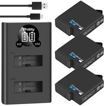 Batería negra + cargador dual LED para GoPro Hero 7, hero6, hero5, cámara negra AHDBT 501battery