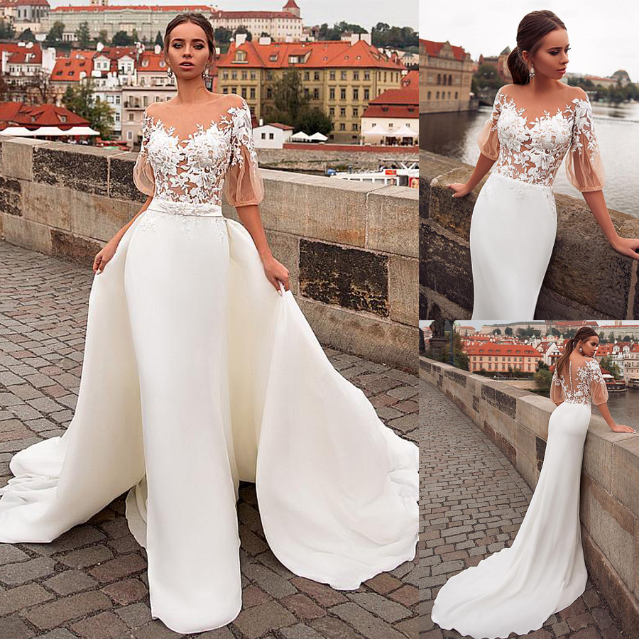 Delicate Scoop Illusion See-through Bodice 2 In 1 Wedding Dress With Lace Jacket Appliques & Detachable Skirt Bridal Dresses