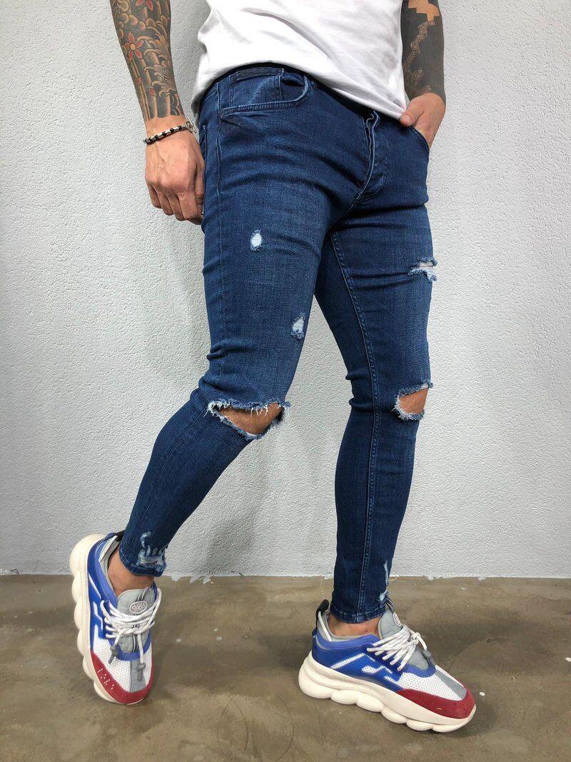 Knee hole Ripped Jeans Men Skinny blue & black High Street Style Elasticity Slim Frayed Casual Men Pants Trousers Biker Jeans