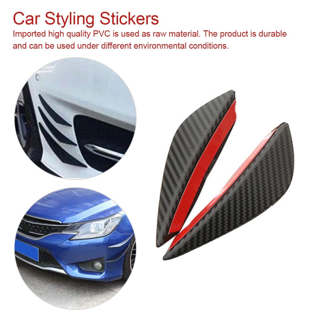 4 Pcs Black Real Carbon Fiber Car Front Bumper Splitter Fins Decoration Stickers