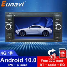 Eunavi Car Radio Multimedia Player Android 10.0 2 Din GPS Autoradio For Ford Mondeo S-max Focus C-MAX Galaxy Fiesta Form Fusion автомобильный dvd плеер isudar 2 din 7 dvd ford mondeo s max focus 2 2008 2011 3g gps bt tv 1080p ipod
