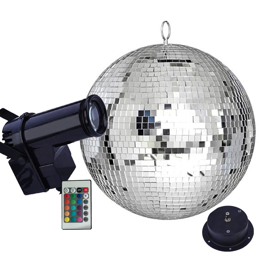 Thrisdar Dia25CM 30CM Reflective Glass Mirror Disco Ball With Motor RGB Beam Pinspot Lamps Home Party Wedding Disco Stage Light