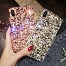 Moda lüks kristal elmas durumda iPhone 12 11 Pro XS Max XR X 8 7 6s artı kapak samsung not için 20 10 9 8 S20 S10 S9 S8