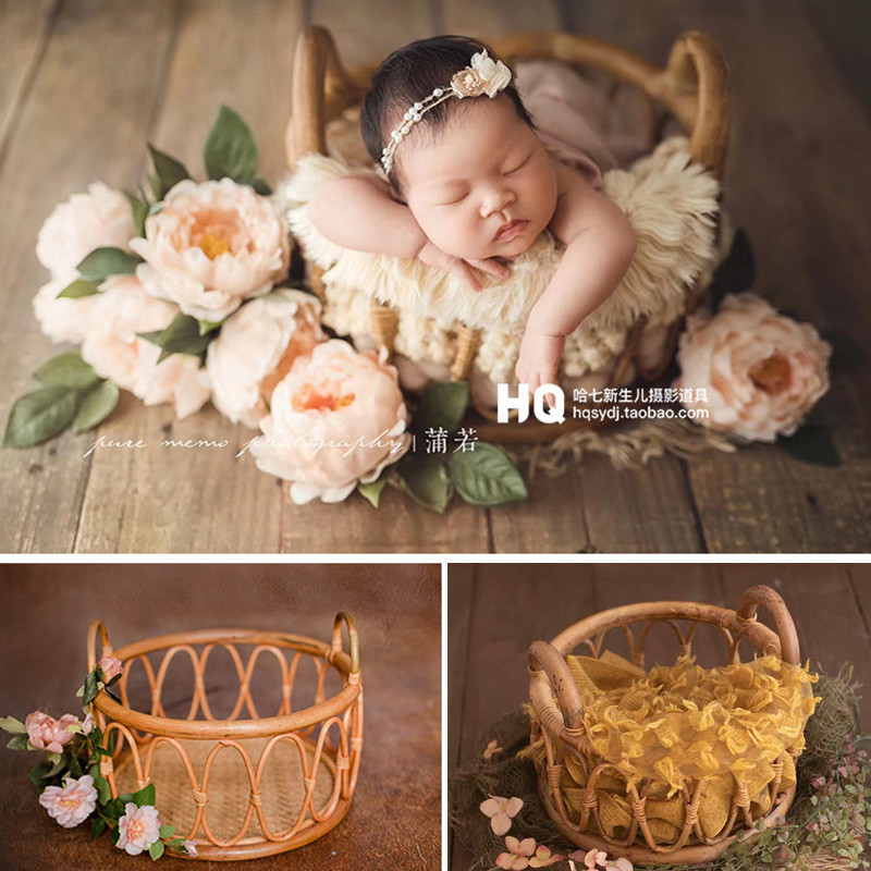 Newborn Photography Props Round Vine Woven Basket Baby Photo Shoot Prop Bebe Poser Pots Frame Container Studio Fotografie Props