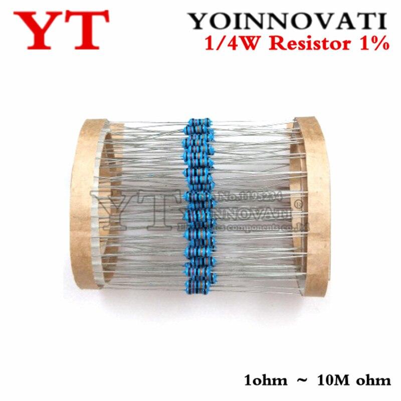 100 шт. 1/4 Вт 1R ~ 22M 1% металлический пленочный резистор 100R 220R 1K 1,5 K 2,2 K 4,7 K 10K 22K 47K 100K 100 220 1K5 2K2 4K7 сопротивление