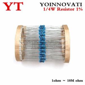 100pcs 1/4W 22 1R ~ 1% M Metal film resistor 100R 220R 1K 1.5K 2.2K 4.7K 47 22 10K K K 100K 100 220 1K5 2K2 4K7 resistência ohm