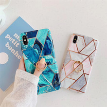 Plating diamond marble pattern phone case For iphone XS MAX XR X 6 6s 7 8plus luxury ring bracket IMD soft shell back cover