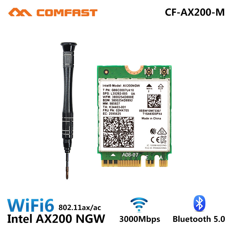 Dual Band 2974Mbps Wireless Wi-Fi 6 <font><b>AX200NGW</b></font> <font><b>NGFF</b></font> <font><b>M</b></font><font><b>.</b></font><font><b>2</b></font> Wifi Bluetooth 5<font><b>.</b></font>0 Network Card <font><b>2</b></font><font><b>.</b></font>4G/5G 802<font><b>.</b></font>11ac/AX For <font><b>Intel</b></font> AX200 Wlan image