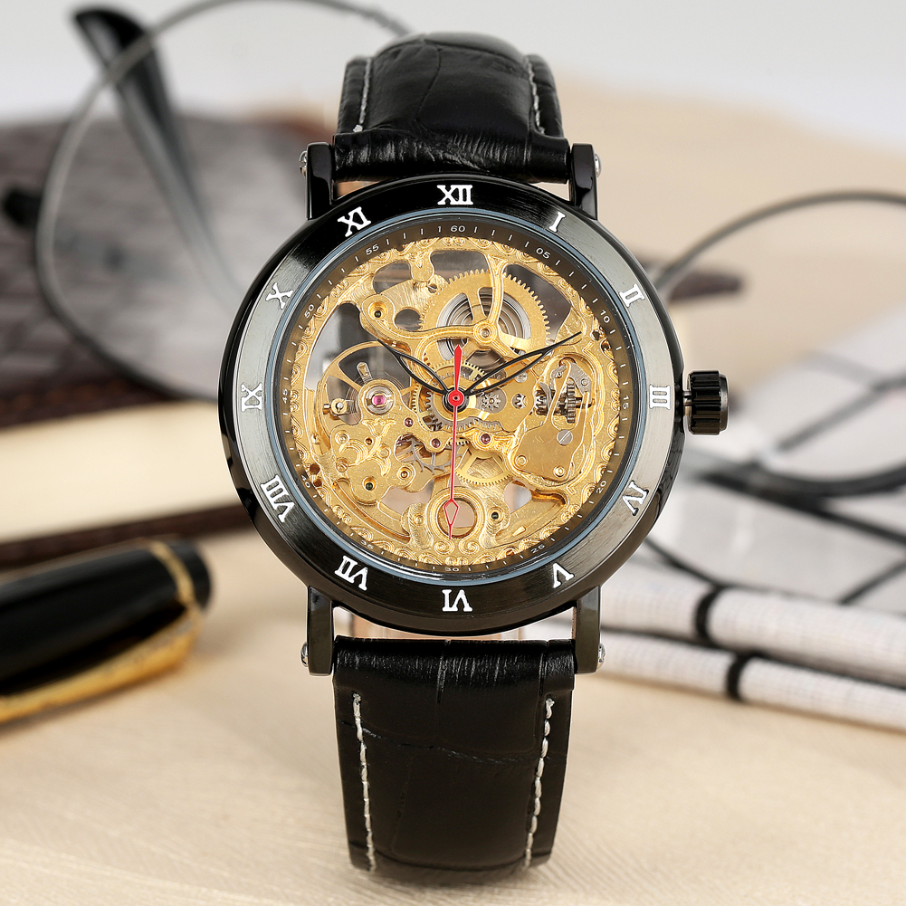 Permalink to Automatic Mechanical Watch Skeleton Design Mens Watches Leather Strap Male Gold Luxury Men Clock Wristwatch reloj hombre