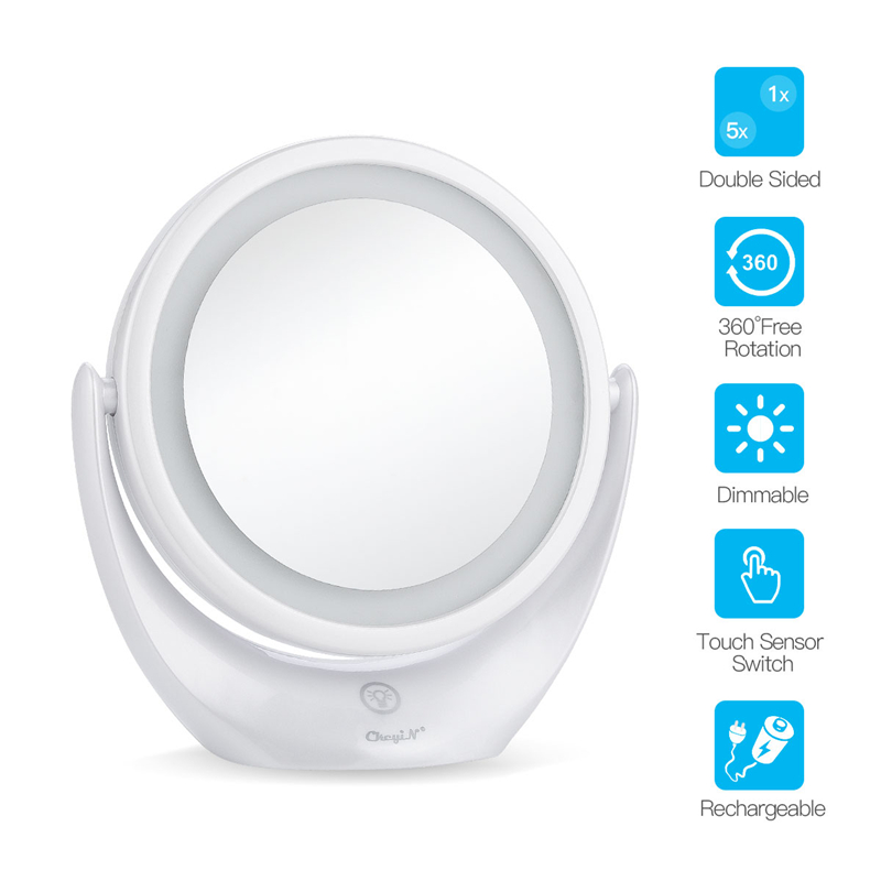 USB Rechargeable Makeup Light  Mirror Double-Sided Mirror 1x/5x Magnification Cosmetic Mirror 360 Degree Swivel Vanity Mirror