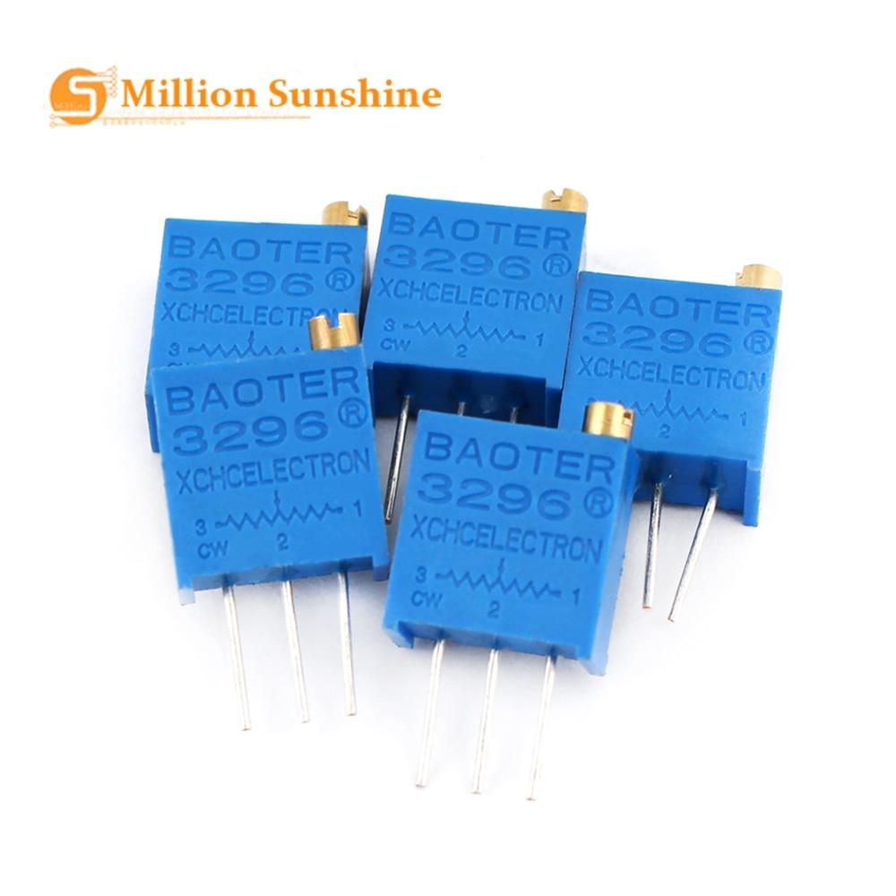 50pcs/lot 3296W Multiturn Trimmer Potentiometer Kit High Precision 3296 Variable Resistor With Free Box Electronic Diy Kit EC31