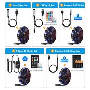 Image 4 - 5V USB Led רצועת 5050 RGB LED רצועת אור 5050 Bluetooth מוסיקה רצועת IP65 גמיש רצועת Led סרט קלטת טלוויזיה רקע תאורה