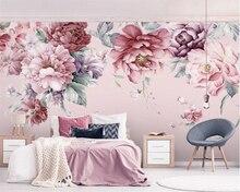 Beibehang Customวอลล์เปเปอร์สดมือวาดดอกไม้Living Room TVพื้นหลังWallภาพวาด3dวอลล์เปเปอร์ภาพจิตรกรรมฝาผนัง