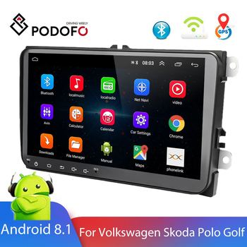Podofo 2 Din Car Radio Android 8.1 Multimedia Player GPS FM For Volkswagen Skoda Seat VW Passat Octavia golf 5 6 Touran image