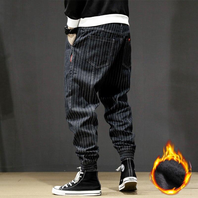 Japanese Fashion Winter Men Jeans Loose Fit Vintage Stripe Designer Black Harem Pants Size 28-42 Hip Hop Velvet Warm Jeans Men