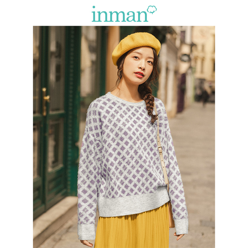 INMAN Spring Autumn Classic O-neck Drop-shoulder Sleeve Plaid Jacquard Literary Women Pullover