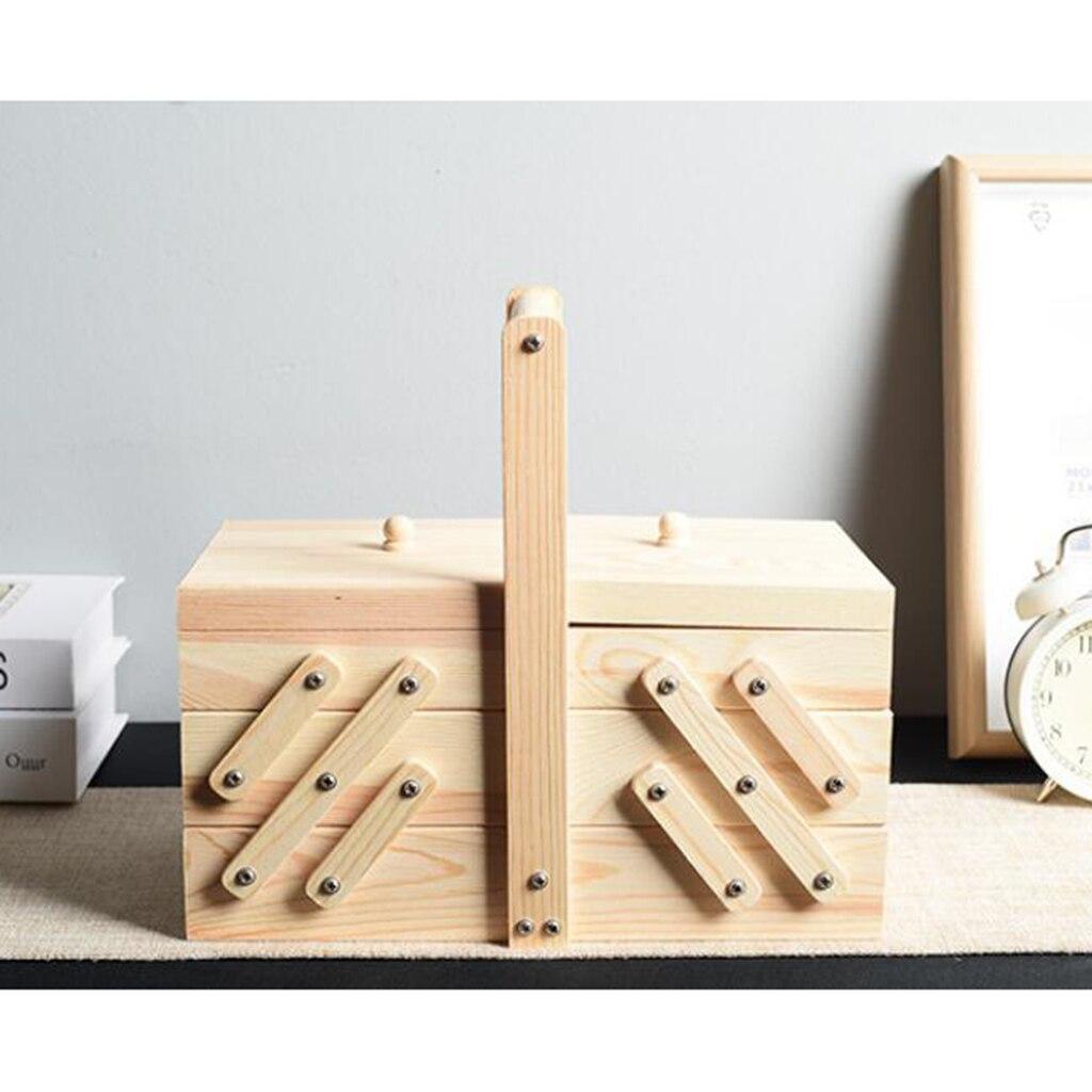 Консольная 3 уровневая коробка для шитья деревянные наборы принадлежности