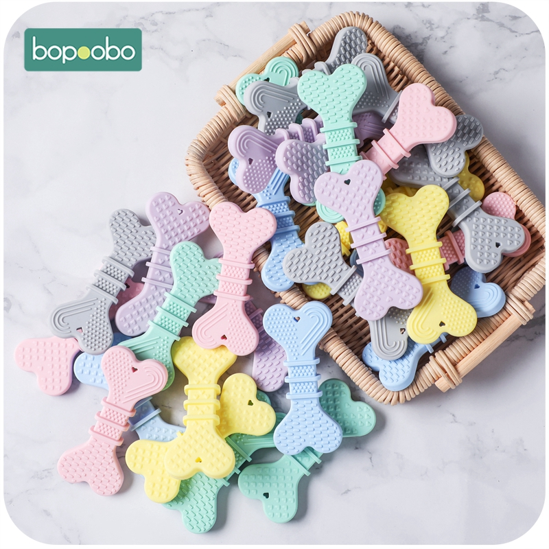 Bopoobo Silicone Baby Teether 10PCS Dog Bones Chewable BPA Free Carton  Toys  Tiny Rod Food Grade Silicone Teether Baby Products