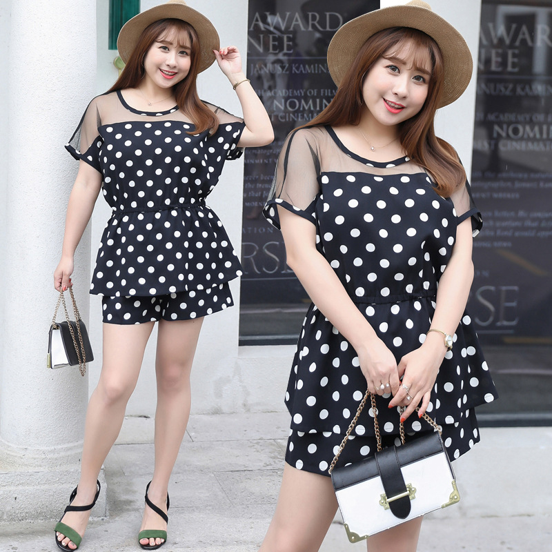 2019 Summer New Products Large Size Dress-Style Two-Piece Set-Dotted Set Fat Mm Dress On Behalf Of 1318
