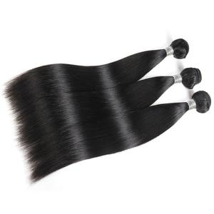 Image 2 - עלי מלכת שיער 3/4pcs פרואני ישר רמי שיער טבעי חבילות עם סגירת 4x 4/13x4 שוויצרי תחרת סגירת חלק חינם משלוח חינם