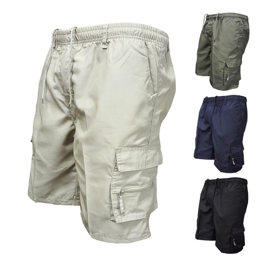 Casual Summer Men Solid Color Multi-pockets Drawstring Baggy Cargo Shorts Pants Multi-pockets Drawstring  Cargo Shorts Pants