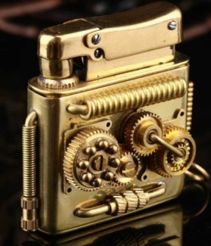 Double Sided Linkage Brass Handmade IV Steampunk Gear Lighter7