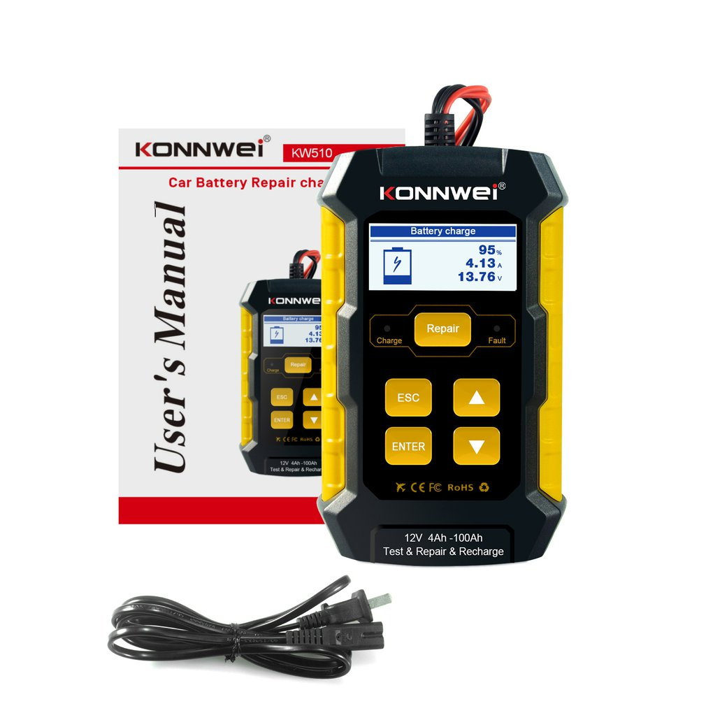 KW510 Battery Tester Car Battery Charger Car Battery Repairer Accessories Low Frequency Constant Current Tester