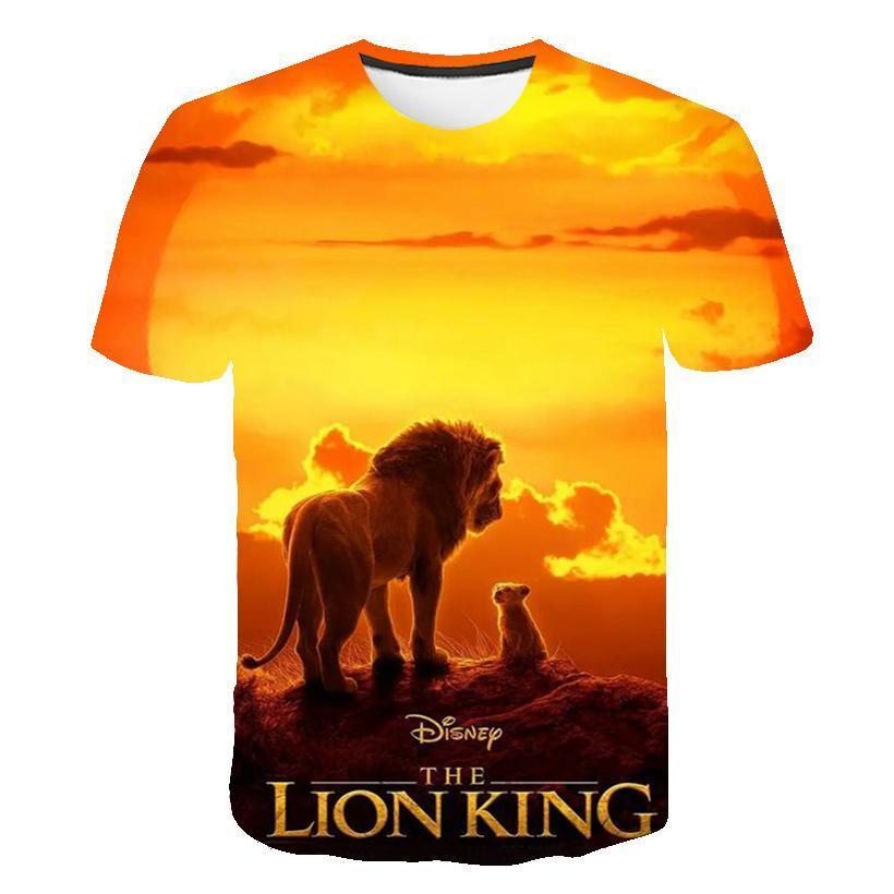 2020 New Film Kingdom King The Lion King Simba 3d Children 'S Wear Boy /Girl Kids Casual T Shirt Short Sleeve Clothes
