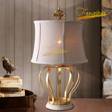 European Retro LED Crown Table Lamp Nordic Gold Foil Luster Table Lights Bedroom Bedside Living Room Reading Decor Lamp Fixtures chinese led ceramic table lamp indoor decor table light lighting loft bedside bedroom living room hotel villa desk lamp luster