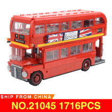 21045 City Creator Series Compatible legoed 10258 The London Bus Set Model Kit Building Blocks Bricks Toys For Children Gifts недорого