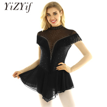Classic Long Sleeve Backless Shiny Rhinestones Tassels Figure Ice Skating Leotard Dress for Ice Dance Professional Competition