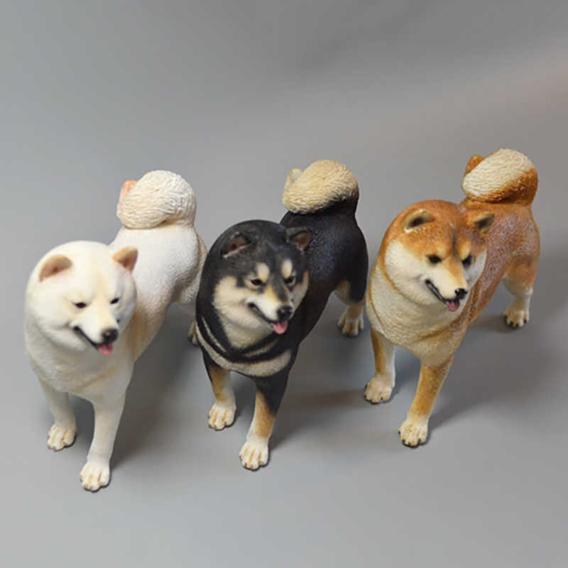 2 Models 1/6 Scale Animal Model High Imitation Pet Dog Shiba Inu Model for 12' Action Figure Body Scene Accessory