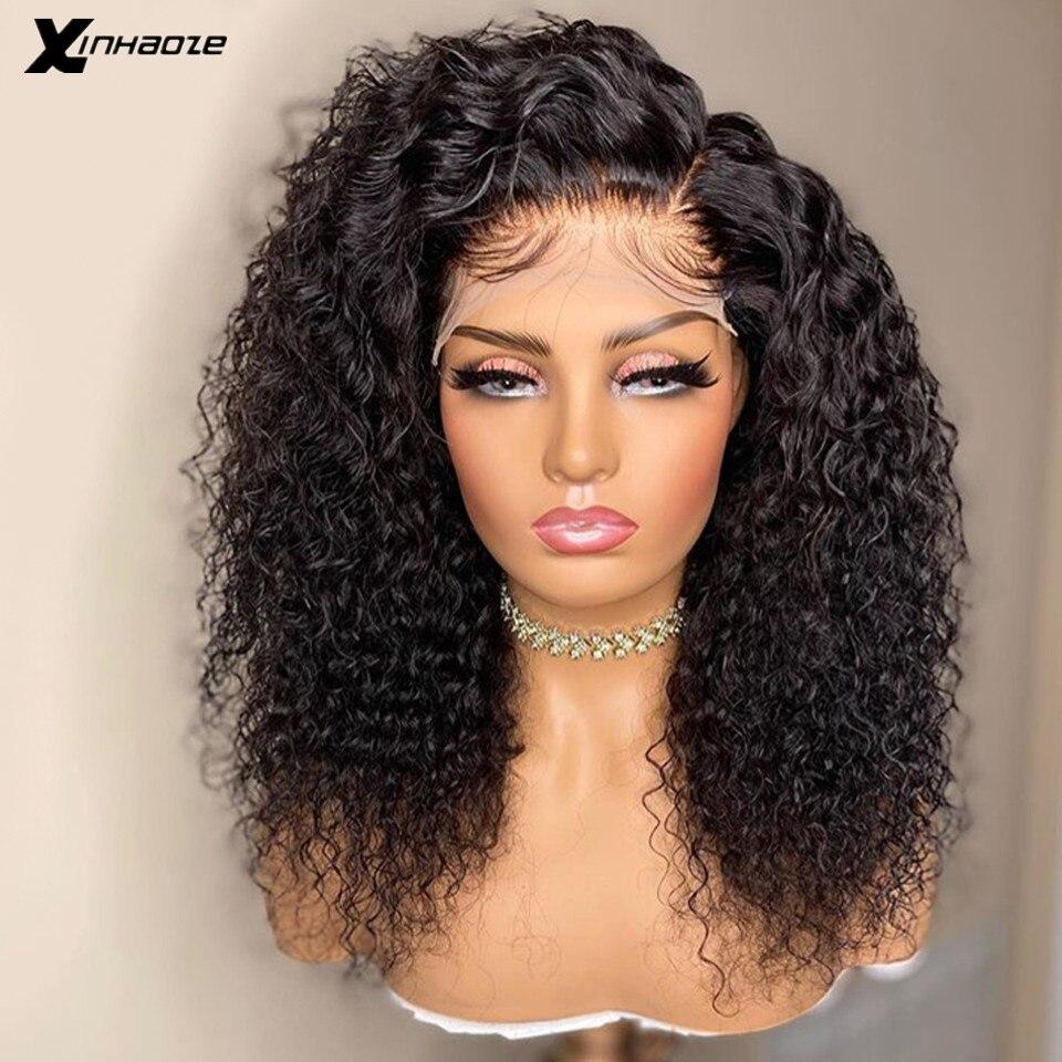 Peruano 5*5 base de seda do laço frente perucas de cabelo humano com o cabelo do bebê 250 densidade kinky encaracolado parte lateral perucas da parte dianteira do laço para mulher