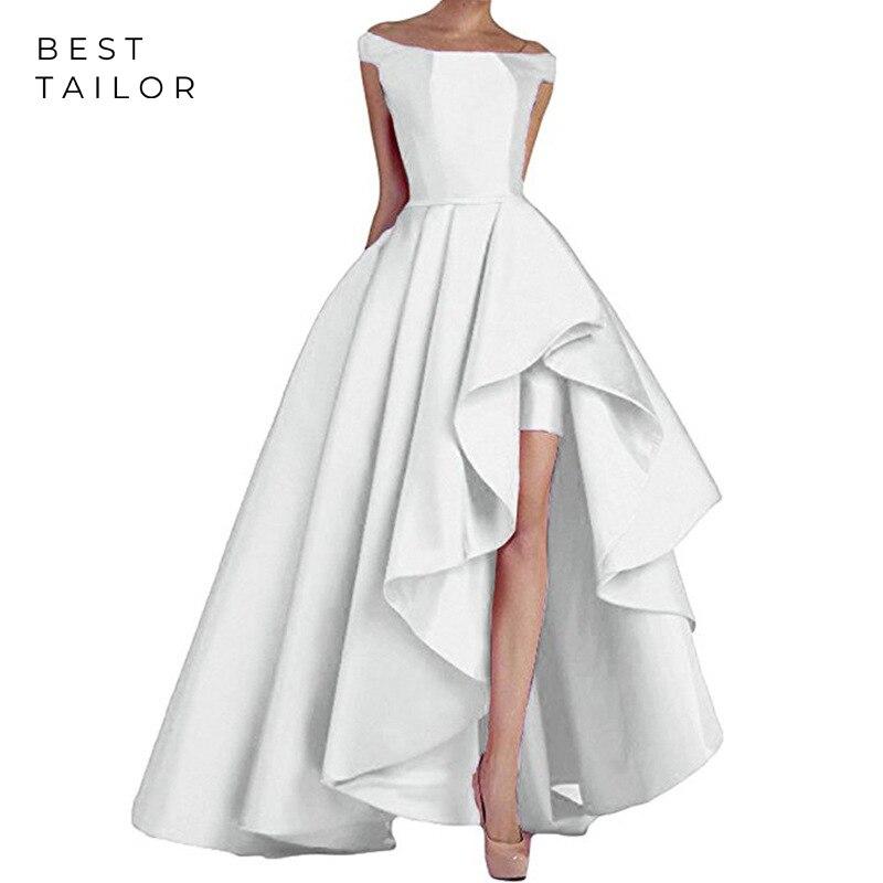 Sexy White Prom Dresses Satin Asymmetrical Formal Party Gowns Off The Shoulder Split Vestidos De Fiesta De Noche Robe De Soiree