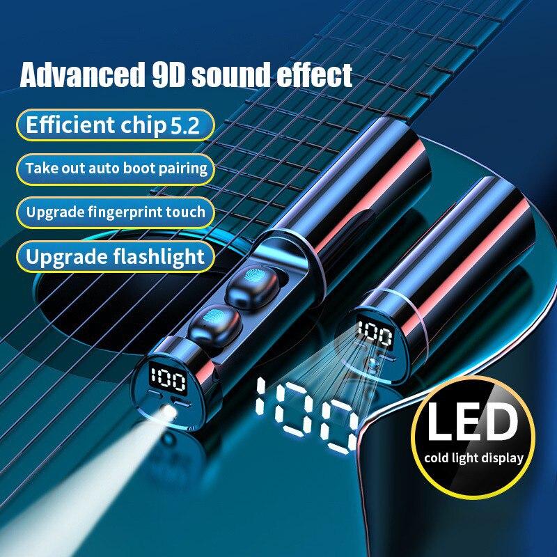 N21 fone de ouvido bluetooth tws alta fidelidade in-ear fones mini controle toque à prova dwaterproof água esportes fone de ouvido sem fio fones de com lanterna