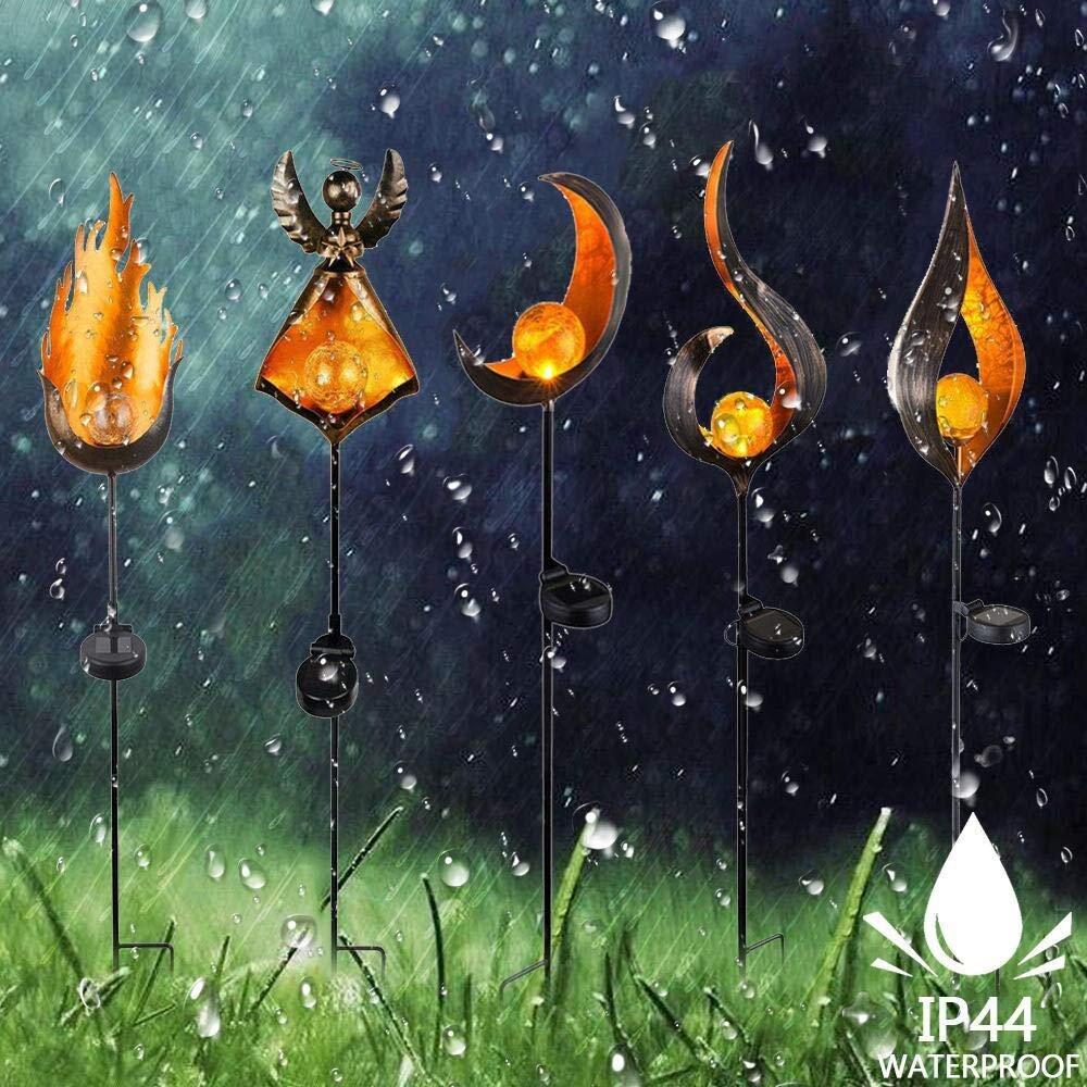 LED Solar Flame Light Metal LED Garden Light Flame Effect Lamp Waterproof Outdoor Lights Landscape Lights Solar Decorative Light