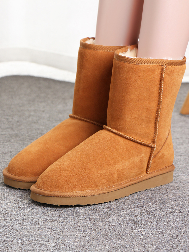 Winter Shoes Snow-Boots Classic Large-Size Genuine-Cowhide-Leather Mbr Force Women 100%Wool