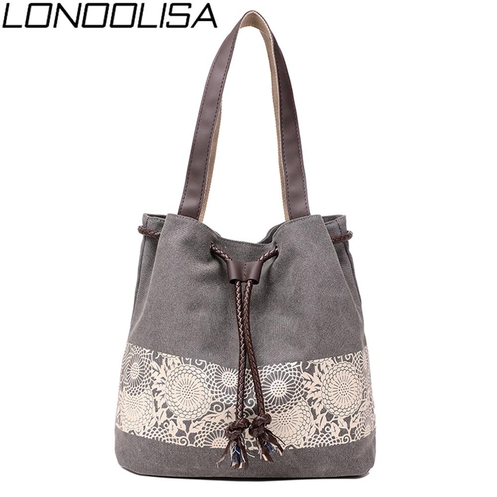 Fashion Drawstring Canvas Ladies Hand Bags High Quality Lace Print Women Shoulder Bag Bolsa Feminina Large Capacity Travel Bags