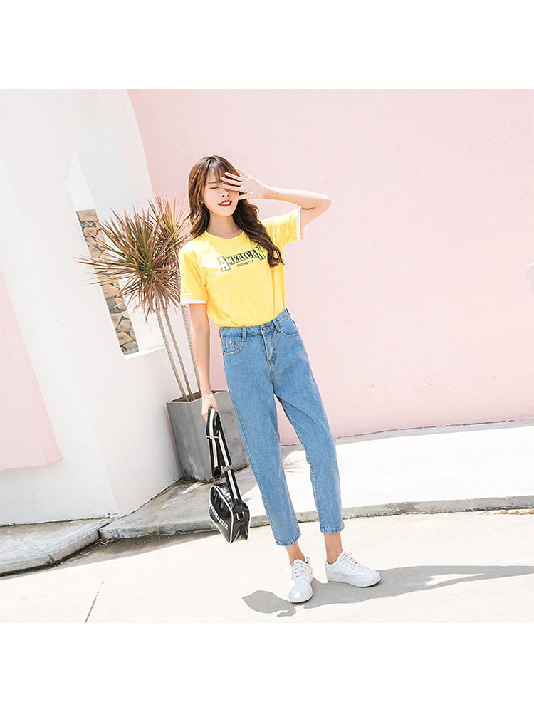 Autumn Clothing BF Light Color Loose-Fit Jeans Women's 2018 New Style Korean-style Capri Casual Students Versatile Straight-Leg