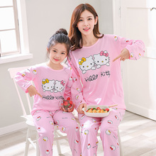 Mommy and Daughter Matching Clothes Cartoon Hellokitty  Pijamas Familiares Navidad  Mom and Me Matching Clothes декоративная ручка hellokitty