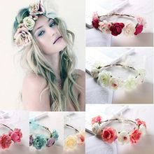 Женщины невеста цветок тиара свадьба цветочные повязка на голову волосы аксессуары шарм гирлянда принцесса венок девушки корона головной убор вечеринка