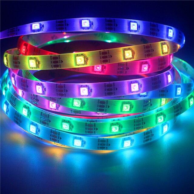 WS2812B DC5V światła LED taśmy RGB 50CM 1M 2M 3M 4M 5M 30/ 60/144 LEDs inteligentny adresowalnych pikseli czarny biały PCB WS2812 IC pełny kolor
