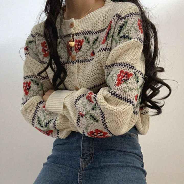 Neploe 2020 Herbst V-ausschnitt Pullover Jacke Floral Jacquard Strickjacke Pullover Langarm Koreanische Lose Gestrickte Mantel Oberbekleidung 55551