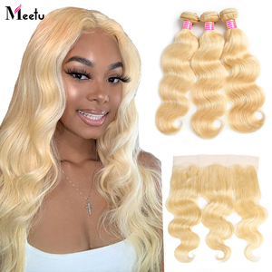 Meetu 613 Blonde Bundles With Frontal Brazilian Body Wave With Frontal Remy Blonde Human Hair Lace Frontal Closure With Bundle
