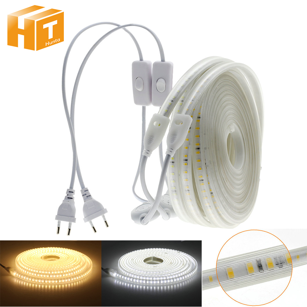 AC 220V LED Strip High Safety High Brightness Soft Light 8W/m Flexible LED Tape Outdoor Waterproof LED Strip Light.