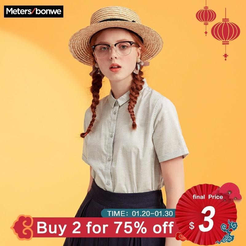 Metersbonwe Brand Shirts Female New Summer Short Sleeve Blouse Good Quality Cotton Blouses Solid Color Tops