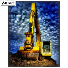 5d diamond painting excavator picture full square & round diamond mosaic landscape canvas embroidery resin crafts