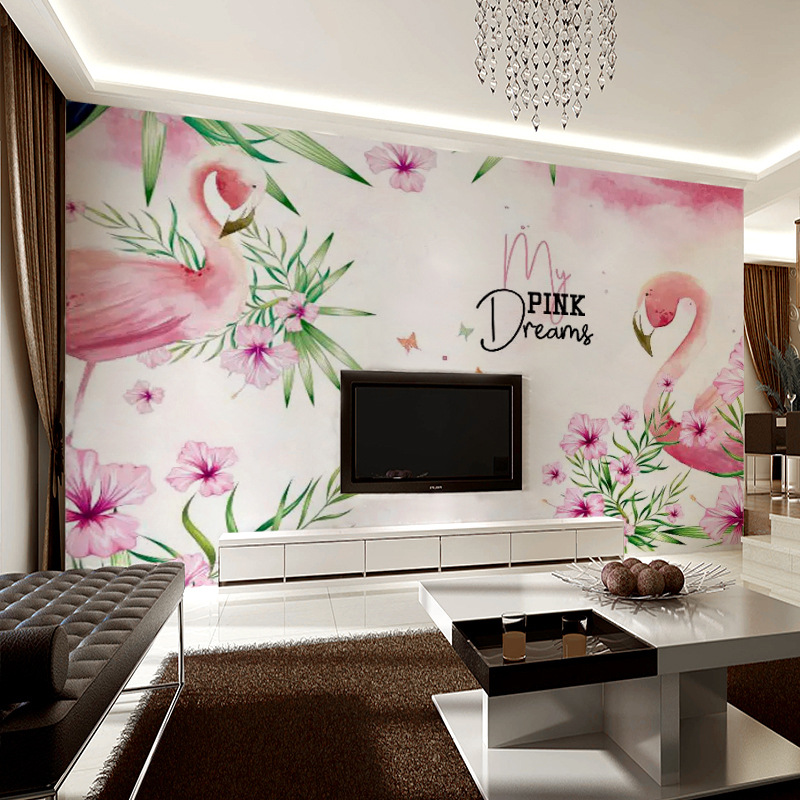 Hand-Painted Northern European-Style Flamingo Sofa TV Backdrop Mural Bedside Wallpaper Bedroom Living Room Wallpaper Art Stereo